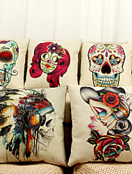 cheap -Fashion Skull Pattern Digital Printing Sofa Cushion Cotton Pillow Cover
