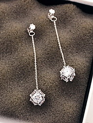 cheap -Women's Drop Earrings - Sterling Silver, Zircon, Cubic Zirconia Fashion Silver For Party / Daily