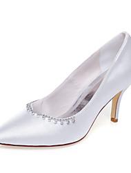 Women's Spring Summer Fall Winter Silk Wedding Dress Party & Evening Stiletto Heel Chain White