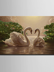 cheap -E-HOME® Stretched LED Canvas Print Art Two Swans LED Flashing Optical Fiber Print One Pcs