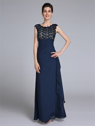 cheap -Sheath / Column Scoop Neck Floor Length Chiffon Mother of the Bride Dress with Lace Side Draping by LAN TING BRIDE®