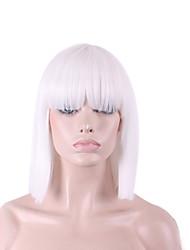 Недорогие -Парики из искусственных волос / Маскарадные парики Прямой / Яки Стрижка боб / С чёлкой Искусственные волосы Природные волосы Белый Парик Жен. Средняя длина Без шапочки-основы