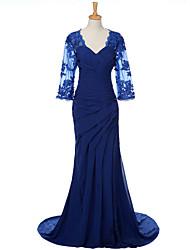 maglia chiffona del treno della spazzata del v-collo / colonna / treno della spazzola del vestito dalla sposa con appliques da weishang