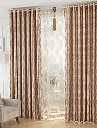 baratos -Dois Painéis Moderno Floral / Botânico Café Sala de Jantar Poliéster Cortinas cortinas