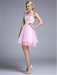 A-Line Strapless Knee Length Organza Cocktail Party Homecoming Prom Dress with Beading by TS Couture®