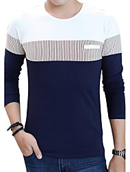 Men's Fashion Striped Patchwork Round Collar Casual Slim Fit Long-Sleeve T-Shirt, Cotton/Plus Size/Casual