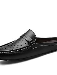 preiswerte -Herrn Schuhe PU Sommer Flache Schuhe Walking Schwarz Braun Blau