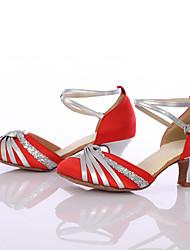 Da donna Danza moderna Seta Tacchi Per interni Tacco su misura Rosso Personalizzabile