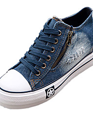 cheap -Women's Shoes Denim Spring / Summer / Fall Comfort Wedge Heel Zipper / Lace-up Dark Blue / Light Blue