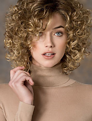 cheap -Women's Fashion Gold Blonde mix Short Curly Synthetic wigs for women