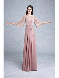Недорогие -Русалка / труба жемчужина шея длина пола кружева формальное вечернее платье с бисером драпировки