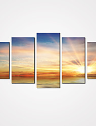 cheap -5 Panels Sunrise by Sea Canvas Print Art Modern Landscape Painting for Home Decor Unframed