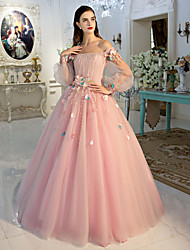 Ball Gown Princess Off-the-shoulder Floor Length Lace Tulle Formal Evening Dress with Flower(s) Lace Side Draping by QZ