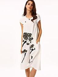 Ample Robe Femme Décontracté / Quotidien Chinoiserie,Fleur Col Arrondi Mi-long Manches Courtes Coton Eté Non Elastique Fin