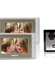 "cheap -TMAX® 7"" LCD Photographing Video Door Phone with 500TVL Night Vision Camera (1Camera to 2Monitors)"