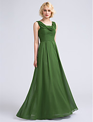 cheap -A-Line Cowl Neck Floor Length Chiffon Bridesmaid Dress with Ruched by LAN TING BRIDE®