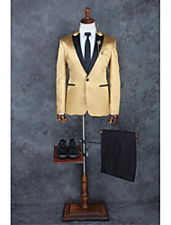 cheap -Champagne Solid Tailored Fit Polyester Suit - Peak Single Breasted One-button