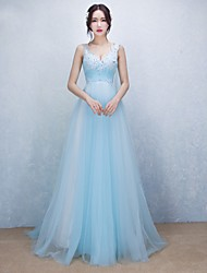 A-Line V-neck Sweep / Brush Train Tulle Prom Formal Evening Dress with Beading Appliques by MYF