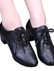 Недорогие -Жен. Обувь для модерна / Бальные танцы Дерматин На каблуках Шнуровка / С отверстиями На низком каблуке Танцевальная обувь Черный / Красный