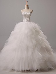 Ball Gown Sweetheart Court Train Tulle Wedding Dress with Beading by Nameilisha