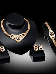 cheap -Women's Jewelry Set - Include Necklace / Earrings / Bracelet Silver / Golden For Wedding / Party / Daily / Ring / Rings