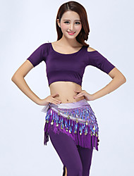 cheap -Belly Dance Outfits(Tops+Pants+Waist-Chain) Women's Performance Modal Tassel 3 Pieces Green / Orange / Purple