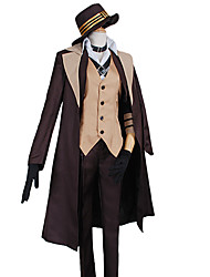 cheap -Inspired by Bungo Stray Dogs Cosplay Anime Cosplay Costumes Cosplay Suits Solid Coat Vest Shirt Pants Collar Gloves Cloak Cap For Male