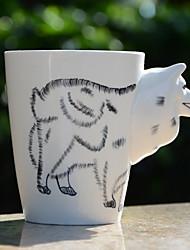 1pc 400ml 3D-Comic-Tier handbemalte Keramik Tasse Kaffee Milchbecher zufällige Farbe