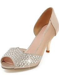 baratos -Feminino Sapatos Courino Primavera Verão Outono Salto Agulha Com Pedrarias Para Casual Social Prata Dourado
