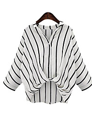 cheap -Women's Daily Plus Size Street chic Spring Blouse,Striped Shirt Collar Linen Thin