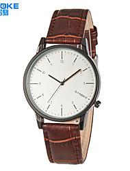 baratos -SYNOKE Homens Relógio de Pulso Impermeável Couro Banda Casual / Relógio Elegante Preta / Marrom / Aço Inoxidável