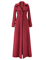 cheap -Women's Work Chic & Modern Fall/Autumn Trench coat,Solid Color V-neck Long Sleeves Maxi Polyester