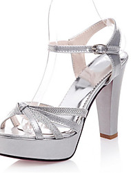 cheap -Women's Shoes Patent Leather / Glitter Chunky Heel Heels / Platform / Open Toe Sandals Office & Career / Dress /  Silver