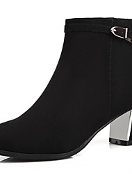 baratos -Mulheres Sapatos Courino Outono / Inverno Saltos / Botas Salto Robusto 5.08-10.16 cm / Botas Curtas / Ankle Presilha Preto