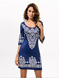 cheap -Women's Boho In Colour Round Neck 1/2 Length Sleeve Knee-length Dress-533326684662