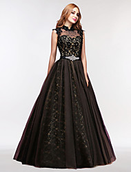Ball Gown Illusion Neckline Floor Length Tulle Prom Formal Evening Dress with Crystal Detailing Lace Pearl Detailing by SG
