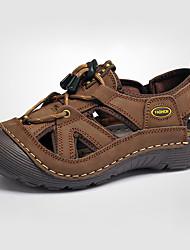 cheap -Men's Shoes Cowhide Summer Sandals for Casual Brown Khaki