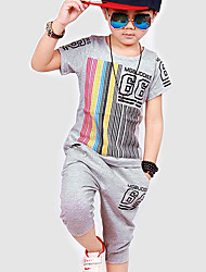Boy's Sports Striped Clothing Set,Cotton Summer Black / Gray