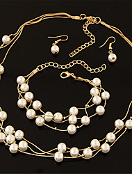 cheap -Women's Jewelry Set Drop Earrings Chain Necklace Pearl Necklace Pearl Circle Multi Layer Bridal Elegant Fashion Wedding Party Daily