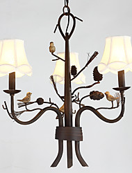 cheap -North Amercian Countryside Retro Resin Bird with Pine Cones Chandelier Lamp for Indoor Decorate Chandelier Light