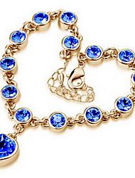 cheap -Women's Cubic Zirconia Chain Bracelet Charm Bracelet - Zircon Heart, Love Love, Adjustable, Fashion Bracelet White / Blue / Pink For Daily Casual