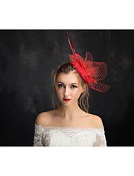 cordón de la pluma de lino fascinadores tocados estilo femenino clásico