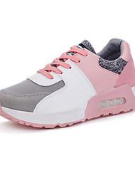 baratos -Mulheres Sapatos Camursa Sintética Primavera / Outono Conforto Tênis Salto Plataforma Cadarço / Combinação Vermelho / Azul / Rosa claro