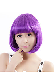 cheap -Synthetic Wig Straight Bob Haircut Purple Women's Capless Carnival Wig Halloween Wig Synthetic Hair