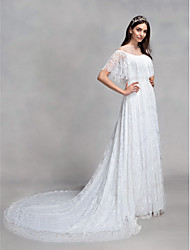 cheap -A-Line Illusion Neck Court Train All Over Lace Made-To-Measure Wedding Dresses with Lace by LAN TING BRIDE®