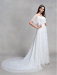 baratos -Linha A Ilusão Decote Cauda Corte Todo Em Renda Vestidos de casamento feitos à medida com Renda de LAN TING BRIDE®