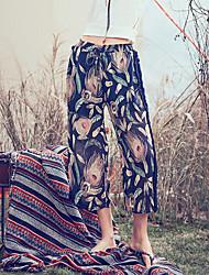 cheap -Women's Boho Wide Leg Pants - Floral