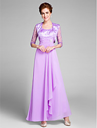 cheap -Sheath / Column Scoop Neck Ankle Length Chiffon Mother of the Bride Dress with Crystals / Ruched by LAN TING BRIDE®