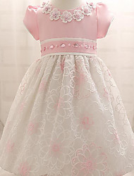 abordables -Bebé Vestido Chica de Fiesta Algodón Media Manga Verano Floral Formal Azul Rosa