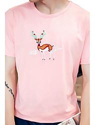 Camiseta De los hombres Estampado-Casual-Algodón-Manga Corta-Negro / Azul / Rosa / Blanco